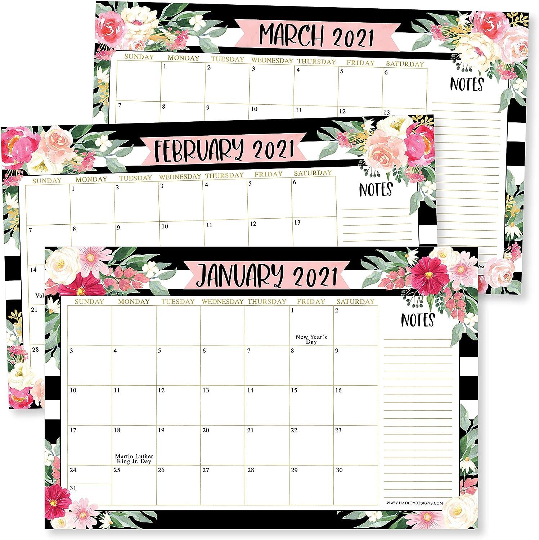 "Black Floral 2021-2022 Desk Calendar, Large Monthly Wall Planner, 18 Month Academic Desktop Calendar or Fridge Planning Blotter Pad, Striped Notes Section for Teacher, Family or Business Office 11x17"""