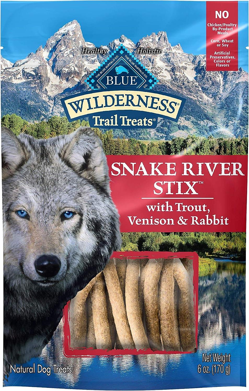 Blue Buffalo Wilderness Snake River Stix High Protein Grain Free Soft-Moist Dog Treats with Trout, Venison & Rabbit 6-oz bag
