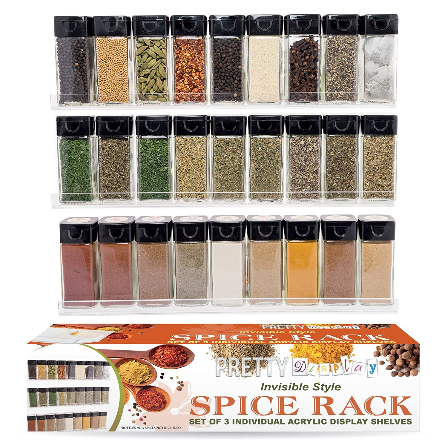 Amazon.com: The 'Invisible' Acrylic Spice Rack. Strong, Sturdy,  Space-Saving, Three Clear Floating Shelves (15 x 2 inch) - 3 Tiered Shelf  Set, Easy to Wall ...