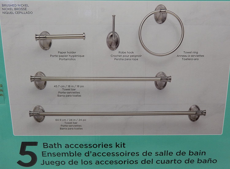 Amazon.com: Waterridge 5 Piece Set Bathroom Accessories Kit Brushed Nickel Finish: Home & Kitchen
