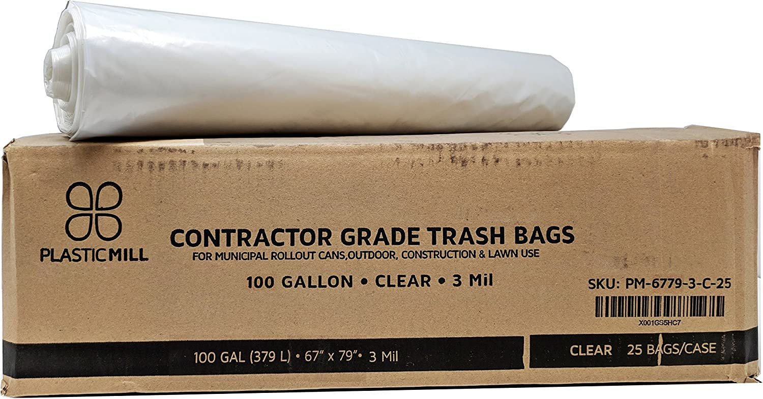 PlasticMill 100 Gallon Contractor Bags: Clear, 3 Mil, 67x79, 25 Bags.