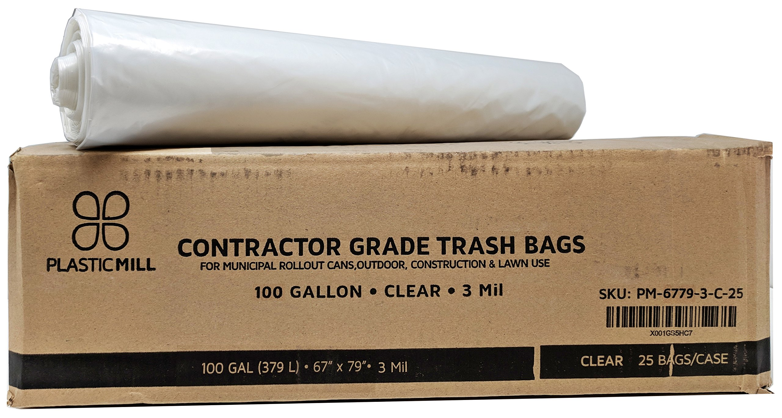 PlasticMill 100 Gallon, Clear, 3 Mil, 67x79, 25 Bags/Case, Gang Folded, Ultra Heavy Duty, Garbage Bags/Trash Can Liners/Contractor Bags.