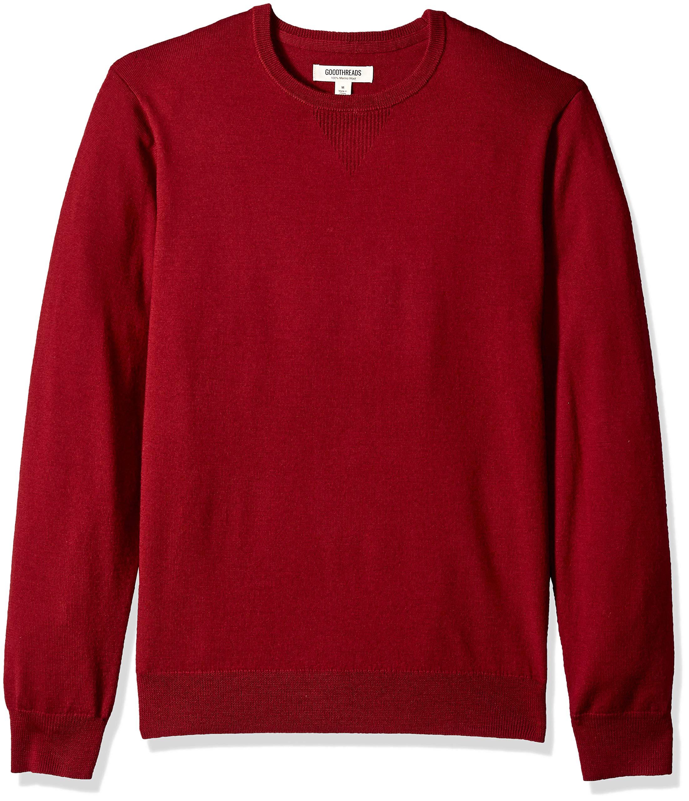 Goodthreads Men's Merino Wool Crewneck Sweater, red, X-Large