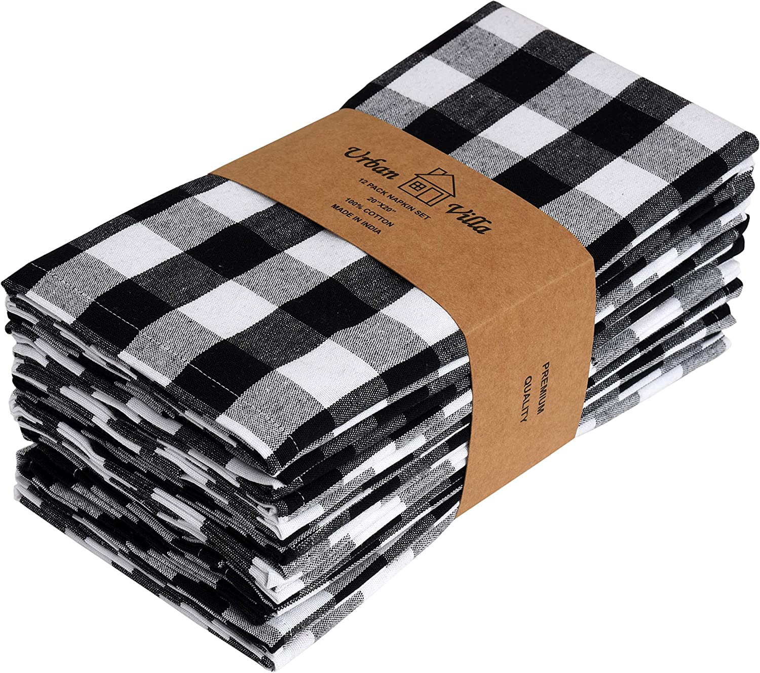 Urban Villa Dinner Napkins, Everyday Use,Premium Quality,100% Cotton, Set of 12, Size 20X20 Inch, Black/White Oversized Cloth Napkins with Mitered Corners, Ultra Soft, Durable Hotel Quality