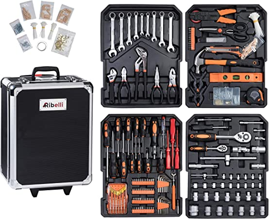 Ribelli Tool Box Tool Set in Practical Case, Universal Tool Box, Household Tool Trolley with Versatile Accessories Tool Trolley Tool Set, 500180: Amazon.de: Baumarkt
