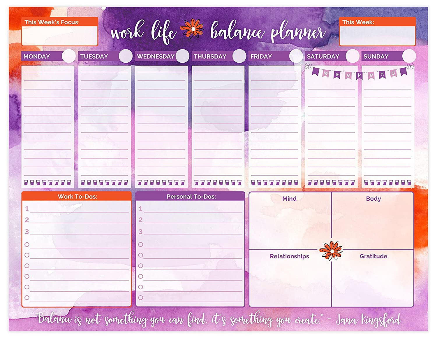 Bloom daily planners Work/Life Balance Planning Pad