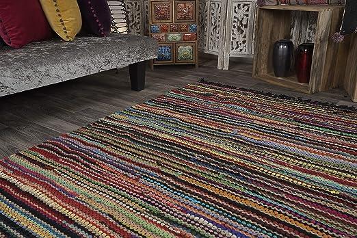 Alfombra trenzada de 120 cm x 180 cm, de algodón y yute multicolor. Alfombra con costuras en color negro.: Amazon.es: Hogar
