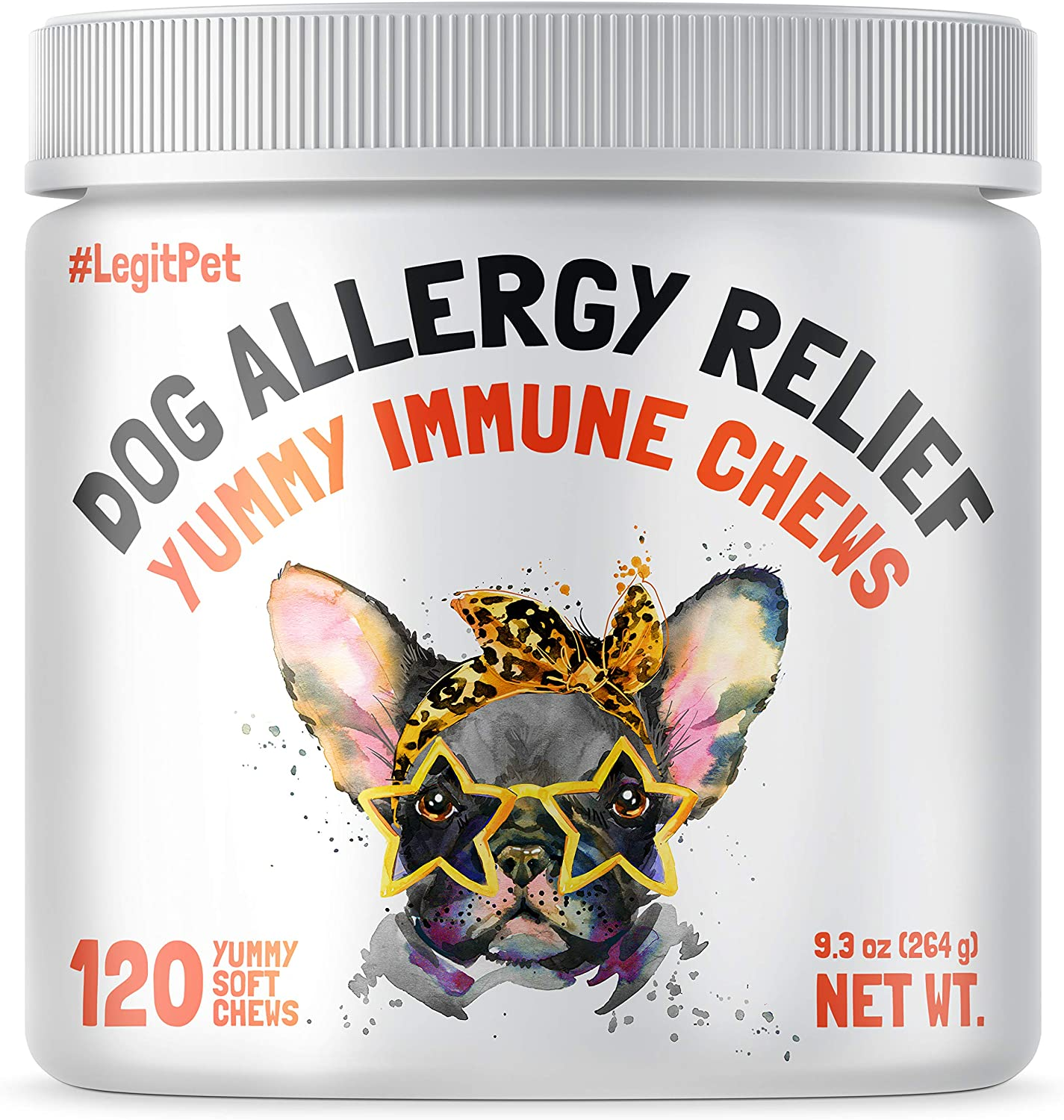 LEGITPET Allergy Relief Chews for Dogs & Immune Support with Kelp, Colostrum & Bee Pollen - for Seasonal Allergies + Anti Itch, Skin Hot Spots Soft Treats
