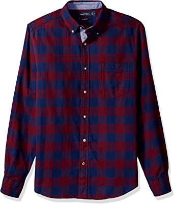 Nautica Long Sleeve Buffalo Plaid Cozy Flannel Button Down Shirt ...