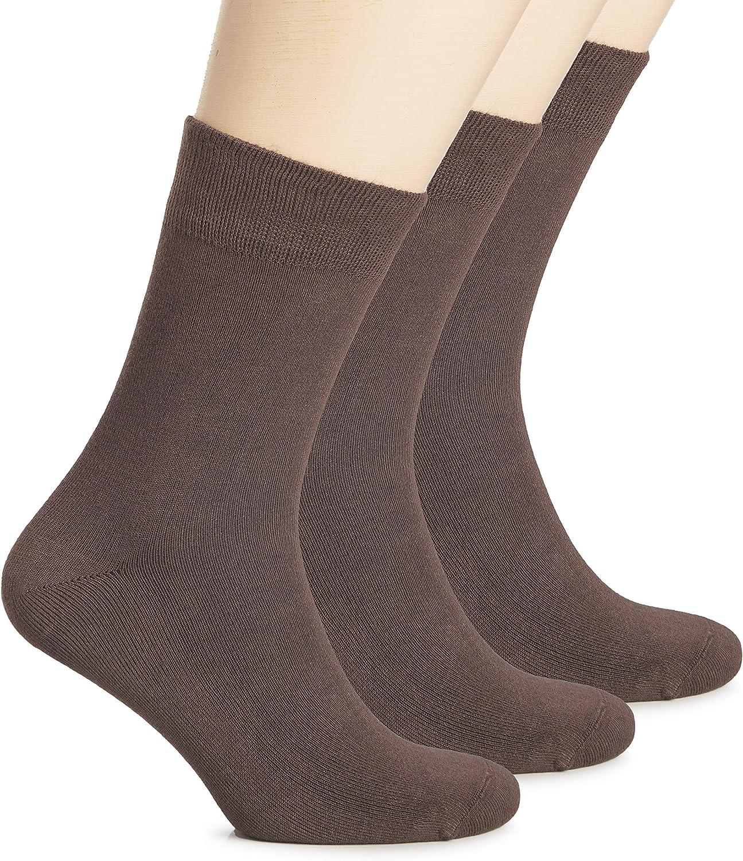Hugh Ugoli Women's Bamboo Dress Socks Crew Soft Thin Comfy Seamless Toe, 3 Pairs, Shoe Size: 5-8/9-11