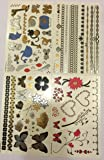 Twink Designs 4-Page Metallic Temporary Tattoos for Girl Kid, 92 Individual Tattoos