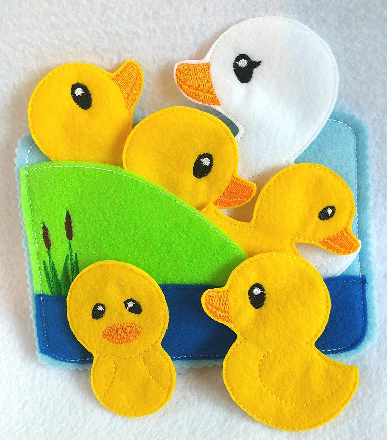 5 little ducks Felt quiet book toddler page and flannel board play set - QB146