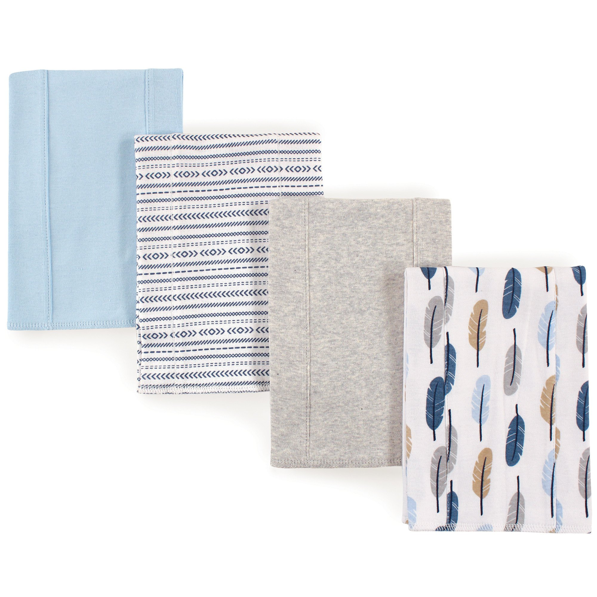 Touched by Nature Baby Organic Cotton Burp Cloths, Blue Feathers 4Pk, One Size by Touched by Nature
