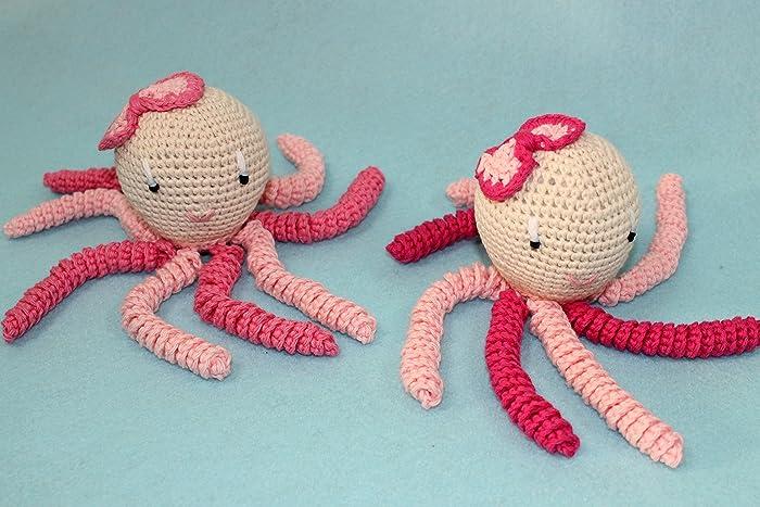 2 pulpos amigurumis para recién nacido en tonos rosas. Pulpos de ...