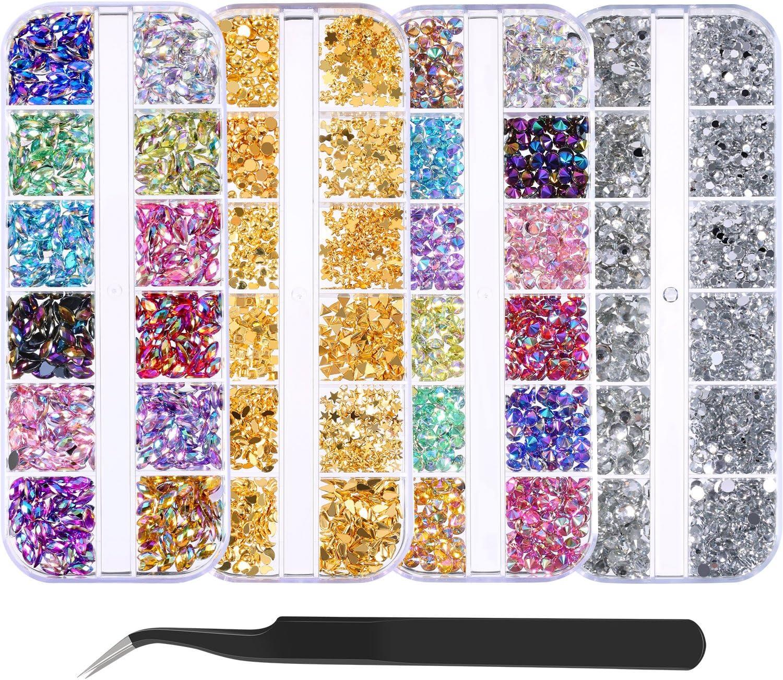 5900 Piezas (4 Cajas) Diamantes de Imitación de Arte de Uñas Kit de Piedras de Uñas con 1 Pieza Pinza, Pernos de Uñas de Multicolor Diamantes de Ojo de Caballo para Decoración Arte de Uña
