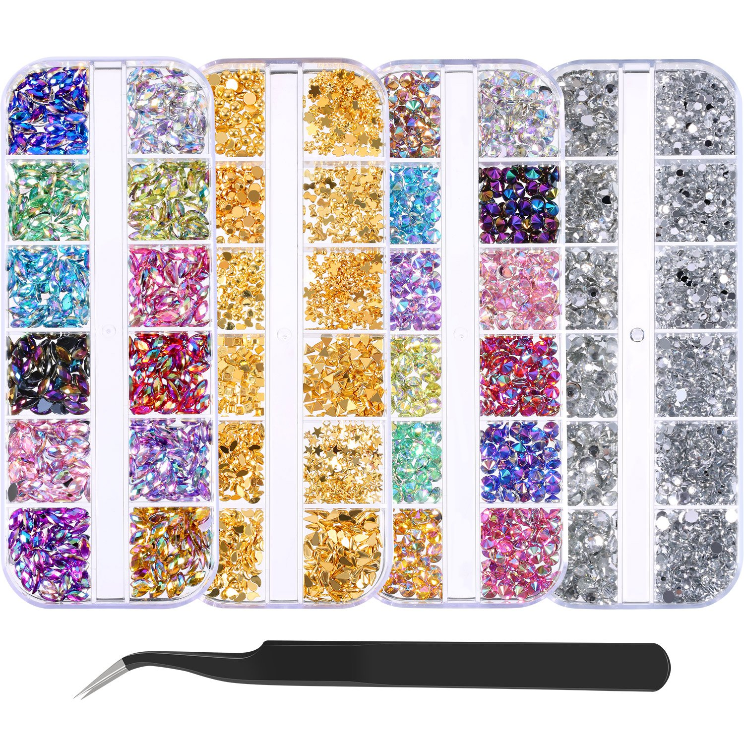 Bememo 4300 Pieces (4 Boxes) Nail Art Rhinestones Kit Nail Rhinestones with 1 Piece 1 Pick up Tweezers, Multicolor Nail Studs Horse Eye Rhinestones for Nail Art Decorations Supplies