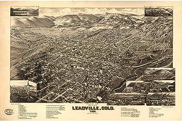 Lake County Colorado Map.Amazon Com History Prints Leadville Lake County Colorado Antique