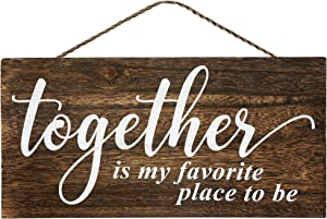 Apanda Together Is My Favorite Place To Be Wooden Sign Wall Hanger - Magnolia Welcome Sign Home Outdoor Wooden Wall Decor for Front Door Kitchen