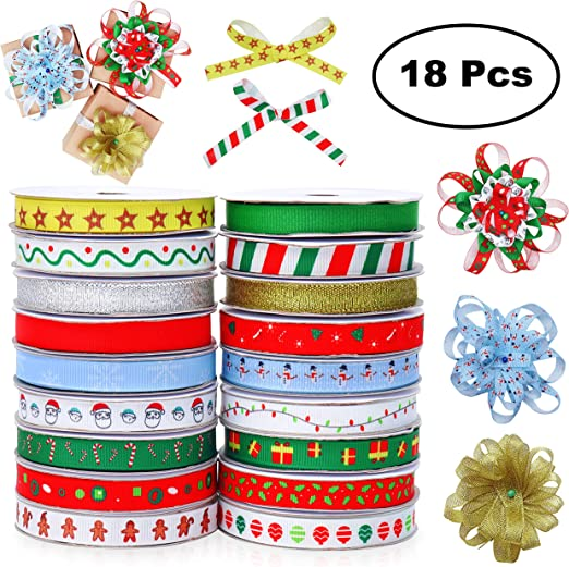 Cinta Navidad (Pack de 18) - Grosgrain Cinta 4,57 Metros para ...