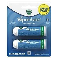 Vicks Vapoinhaler Portable Nasal Inhaler, 2 Count - Non-Medicated Vapors to Breathe Easy