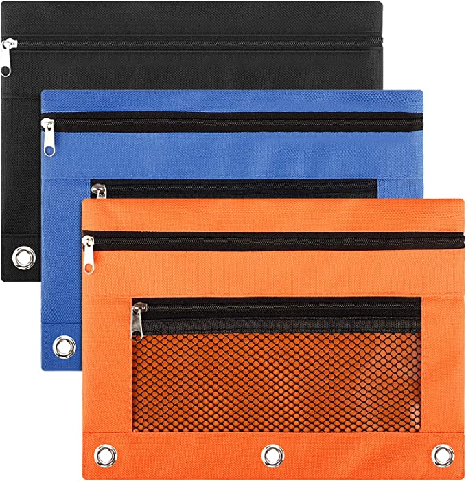 LABUK 3pcs Zipper Pencil Cases, 3 Ring Pencil Pouch for School Office Supplies, Black/Blue/Orange