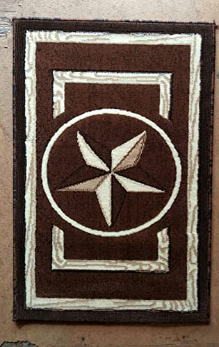 Texas Star Door Mat Area Rug Dark Brown Design M2 2ftx3ft