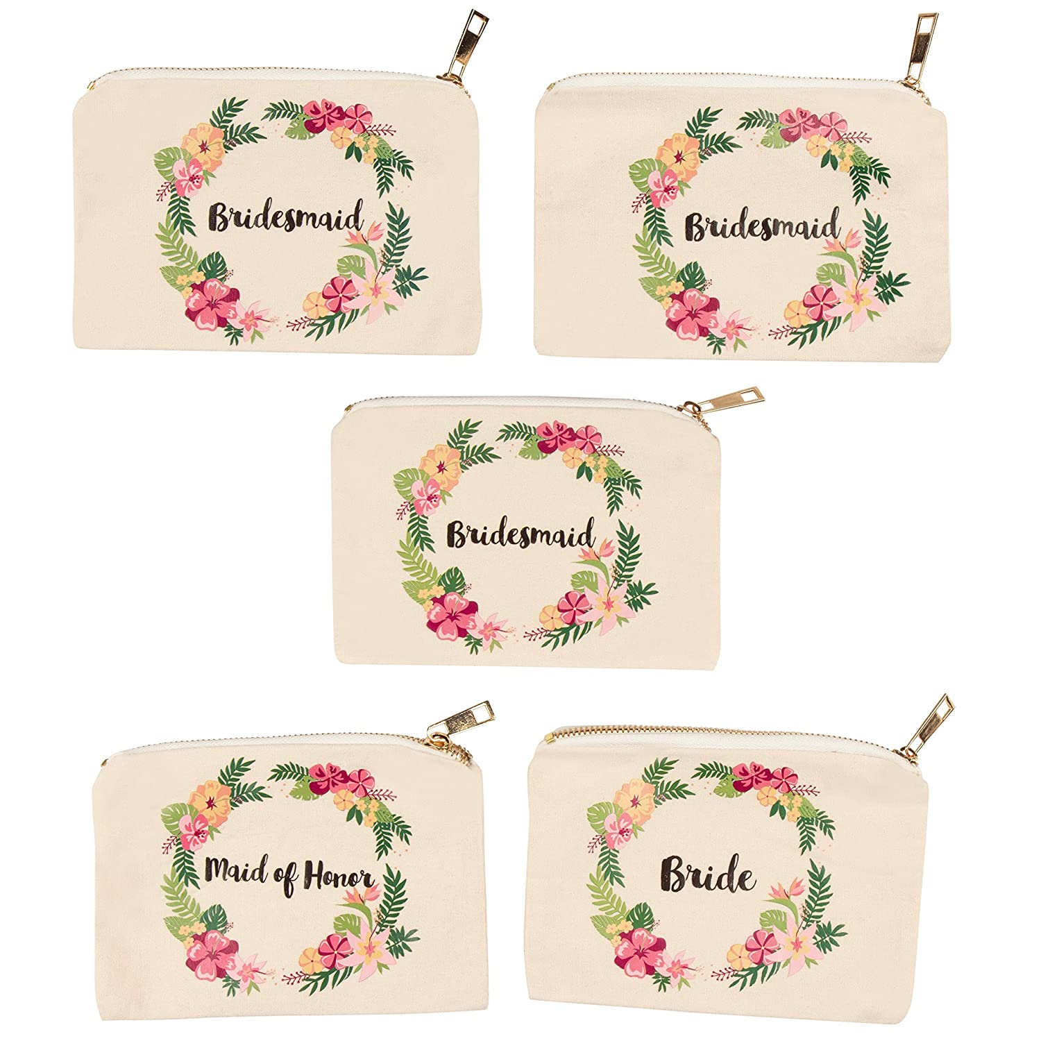 Bridal Shower Makeup Bag – 5-Pack Canvas Cosmetic Pouches for Wedding Favors, Bachelorette Party Gifts, Bride Tribe Accessories, Tropical Floral Wreath Design, 7.2 x 4.7 Inches