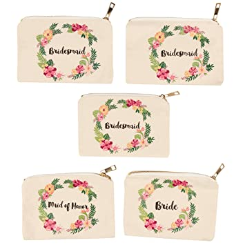 Bridal Shower Makeup Bag - 5-Pack Canvas Cosmetic Pouches for Wedding Favors, Bachelorette