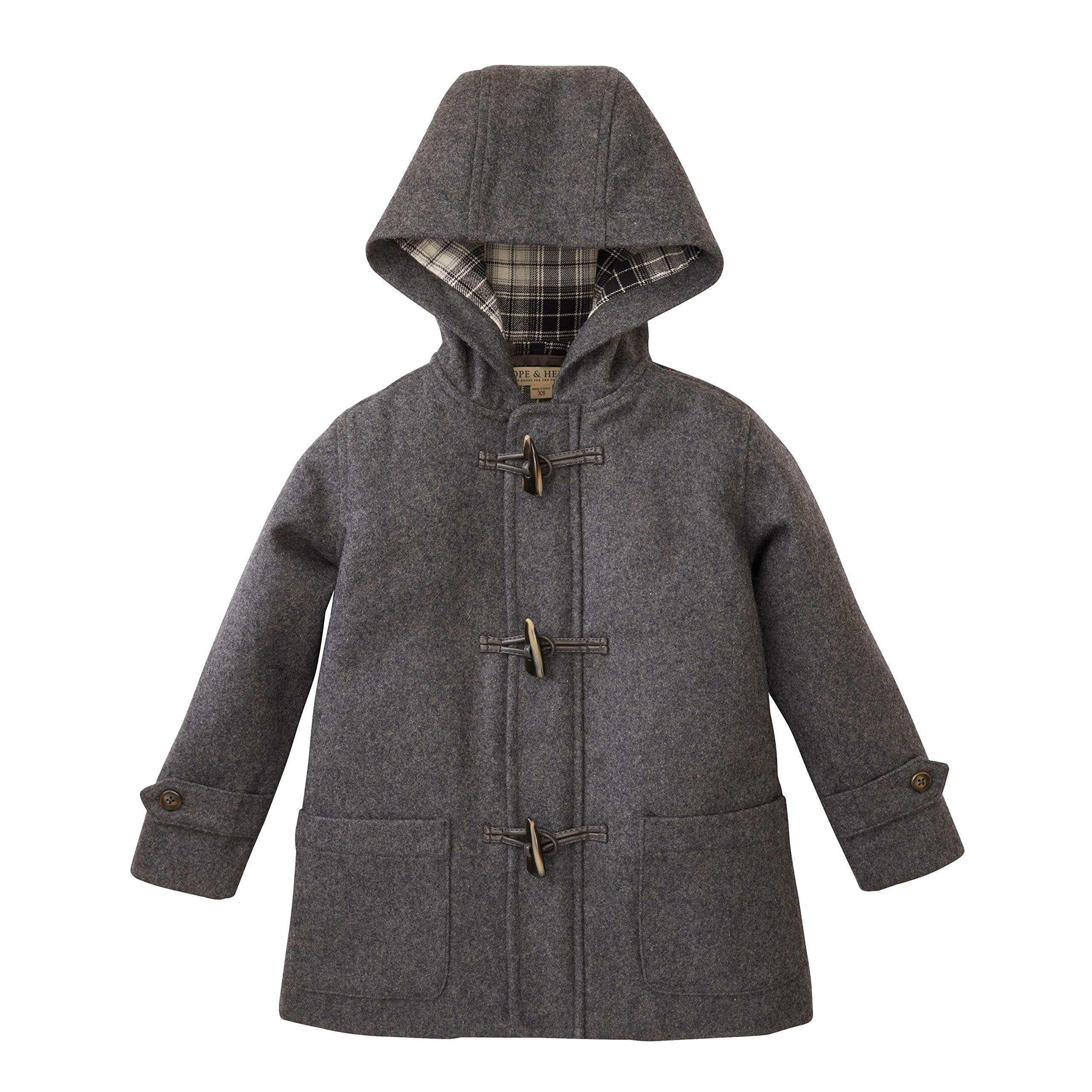 Hope & Henry Boys' Grey Wool Blend Duffle Coat