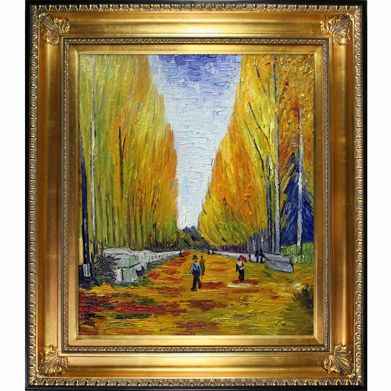 overstockArt The Allee of Alyscamps 1888 Artwork by Van Gogh with Regency Gold Frame