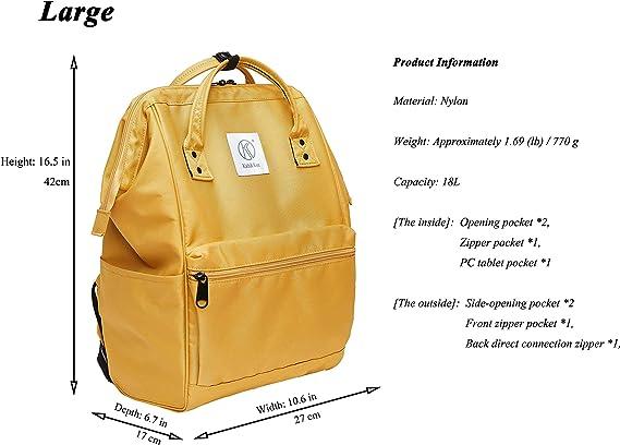Kah Kee Polyester Laptop Rucksack Wasserdicht Anti Diebstahl Wickeltasche Universität Damen Herren Gelb Groß Koffer Rucksäcke Taschen