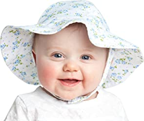 0bde0f5f5f4 Huggalugs Baby   Toddler Girls Flower Sunhat UPF 25+ in 5 Print Choices