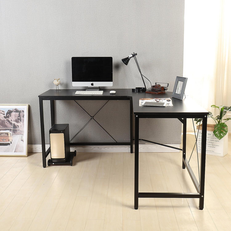 Señor Ironstone Moderno en Forma de L para Esquina Escritorio de Ordenador PC Latop Estudio Mesa estación de Trabajo Oficina en casa Madera y Metal (Teca): ...