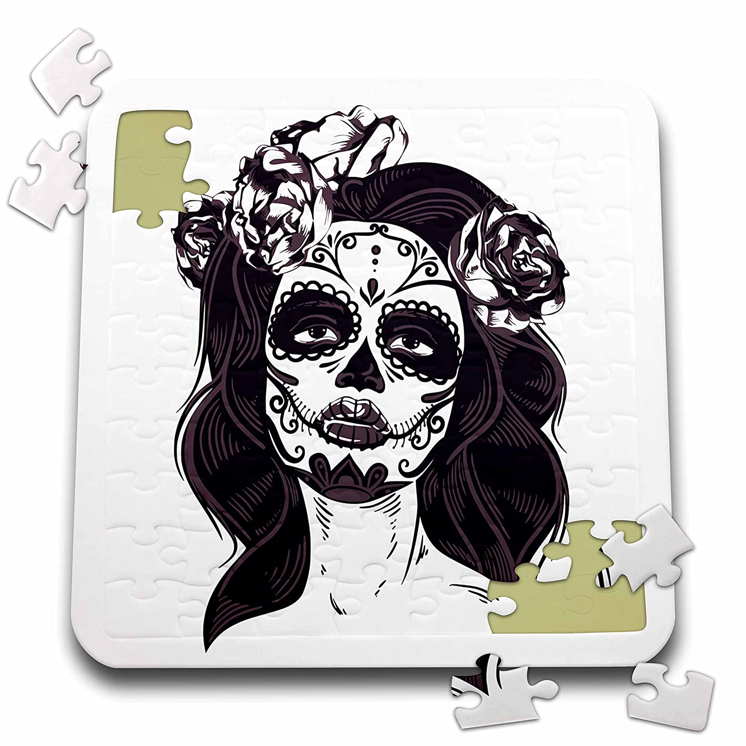 Sven Herkenrath Skull - Female Skull with Flowers in Hair Gothic Day of the Dead - 10x10 Inch Puzzle (pzl_254367_2)