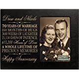 """Personalized 70th Year Wedding Anniversary Gift for Couple Custom engraved 70th Wedding Anniversary Gifts Frame Holds 1 4x6 Photo 8"""" H X 10"""" W (Black)"""