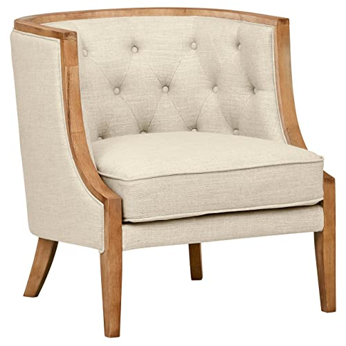 Stone Beam Laurel Rounded Accent Chair, 29.5 W, Sand