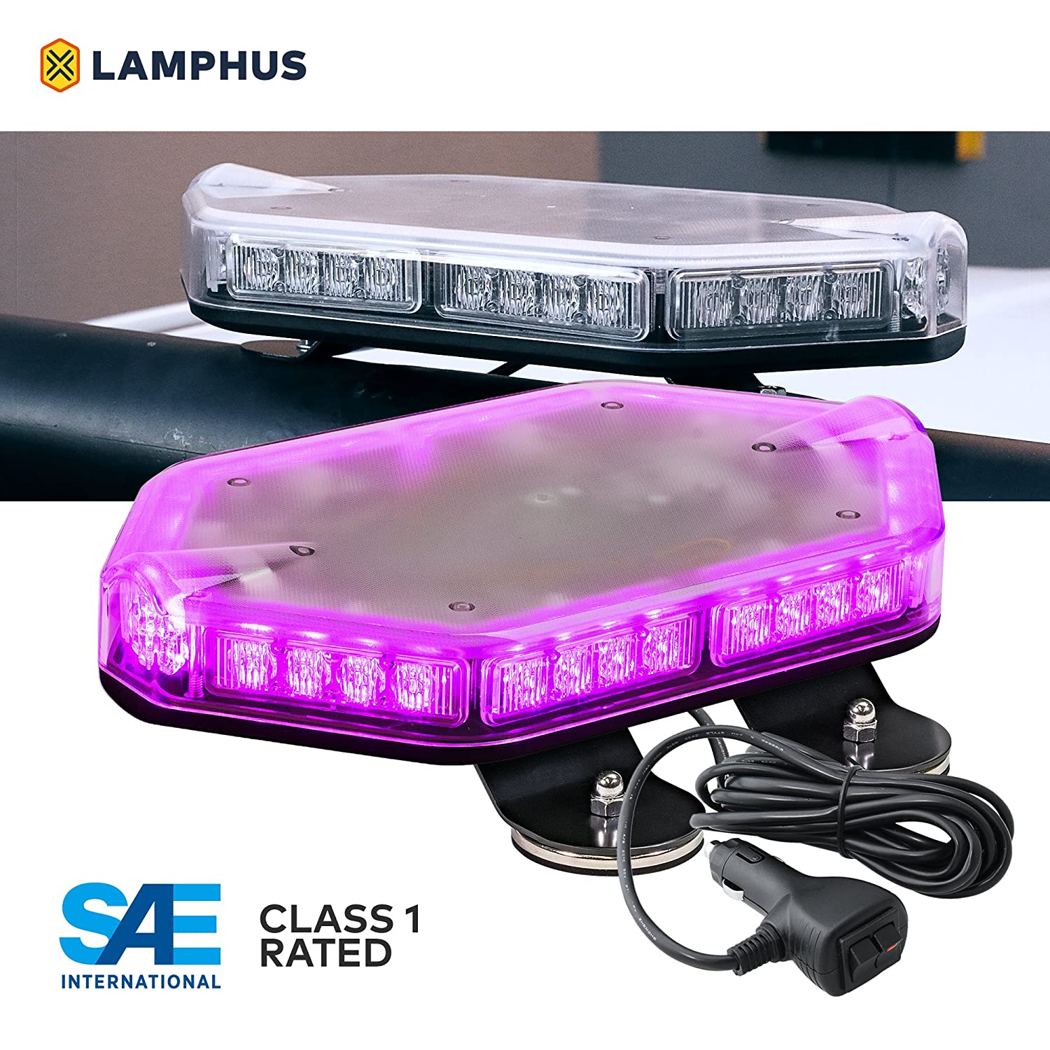 Green SAE Class 1 12ft Cord Magnet//Permanent Mount Emergency Strobe Hazard Warning Light LAMPHUS NanoFlare NFMB56 17 56W LED Mini Light Bar 63 Flash Patterns