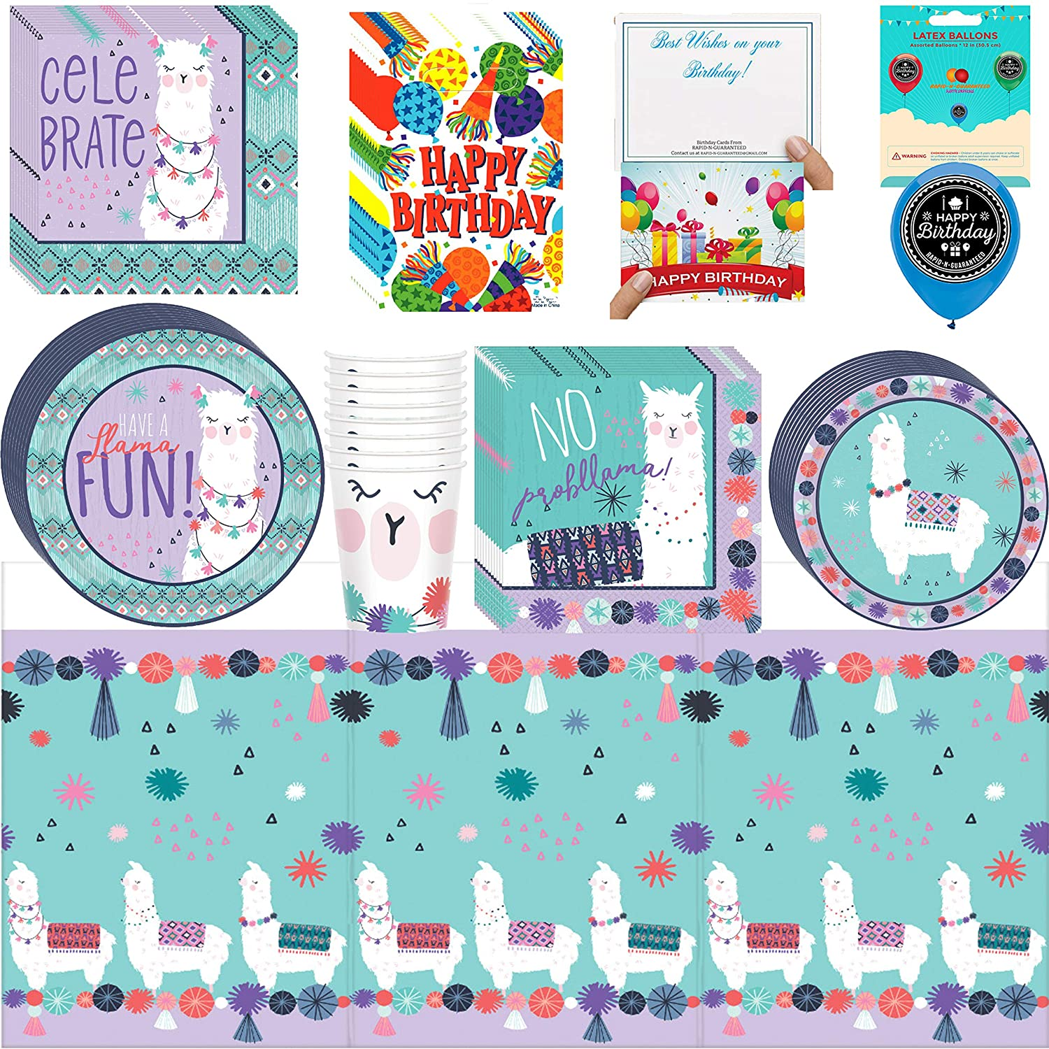 Amazon LLama Fun Birthday Party Supplies Bundle Of Cups Plates Napkins Balloon Table Cover Happy Card And Treat Bags Toys Games
