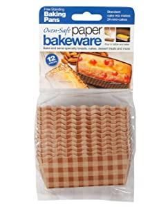 Welcome Home Oven Safe Mini Cake Loaf Paper Baking Pans, 12 Count per Pack, 2-Pack