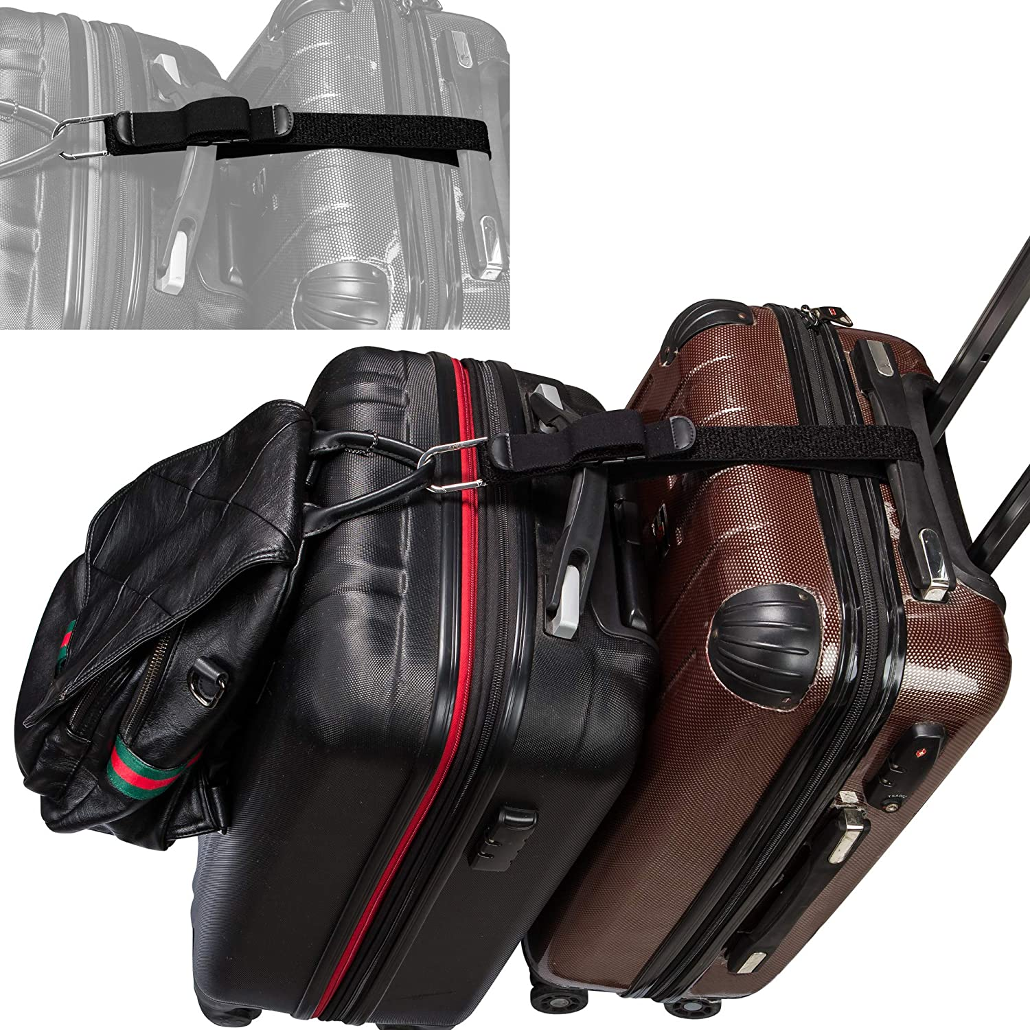 ZINZ D-ring Hook Baggage Suitcase Straps Belts Travel Accessories Add A Bag Luggage Strap Jacket Gripper