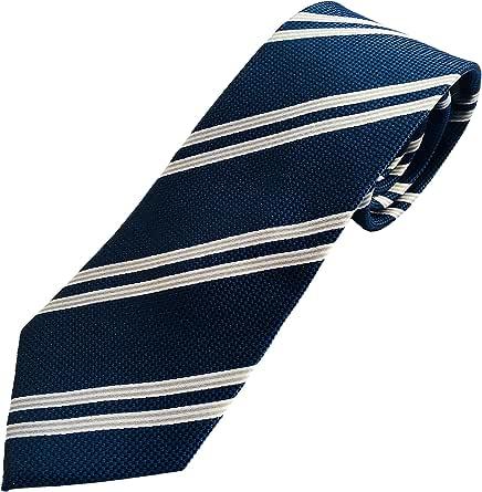 Corbata azul a rayas grises - Corbatas de hombre fabricadas artesanalmente - 100% seda -Pietro Baldini: Amazon.es: Ropa y accesorios