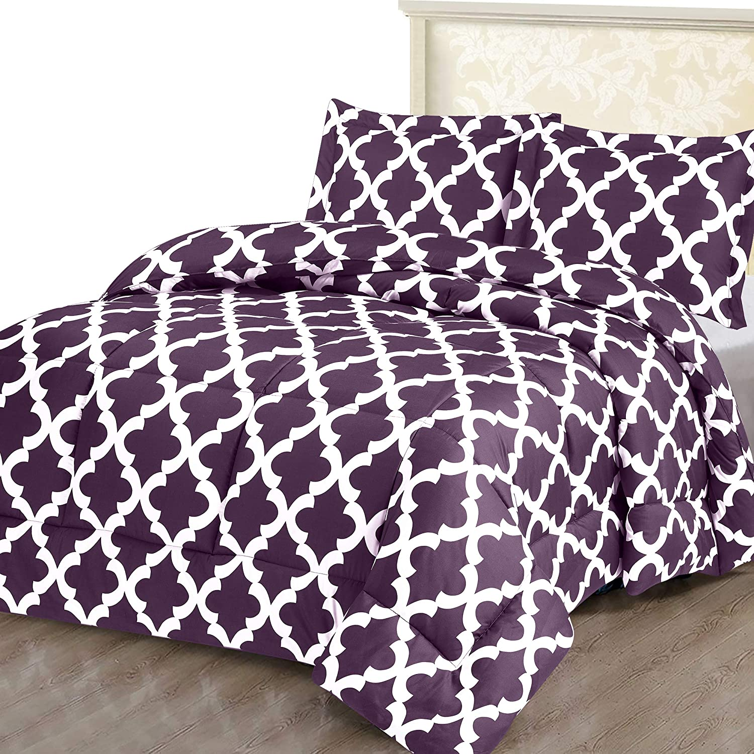 Utopia Bedding Printed Comforter Set (Queen, Plum) with 2 Pillow Shams - Luxurious Brushed Microfiber - Down Alternative Comforter - Soft and Comfortable - Machine Washable