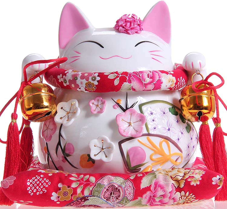 Afortunado japonés del gato de porcelana con dos campanas - Atrae la suerte