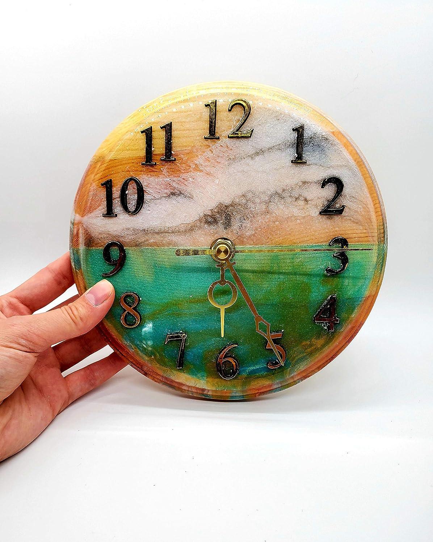 Amazon.com Aqua Marble Ocean Wave Epoxy Resin Clock on the Wooden ...