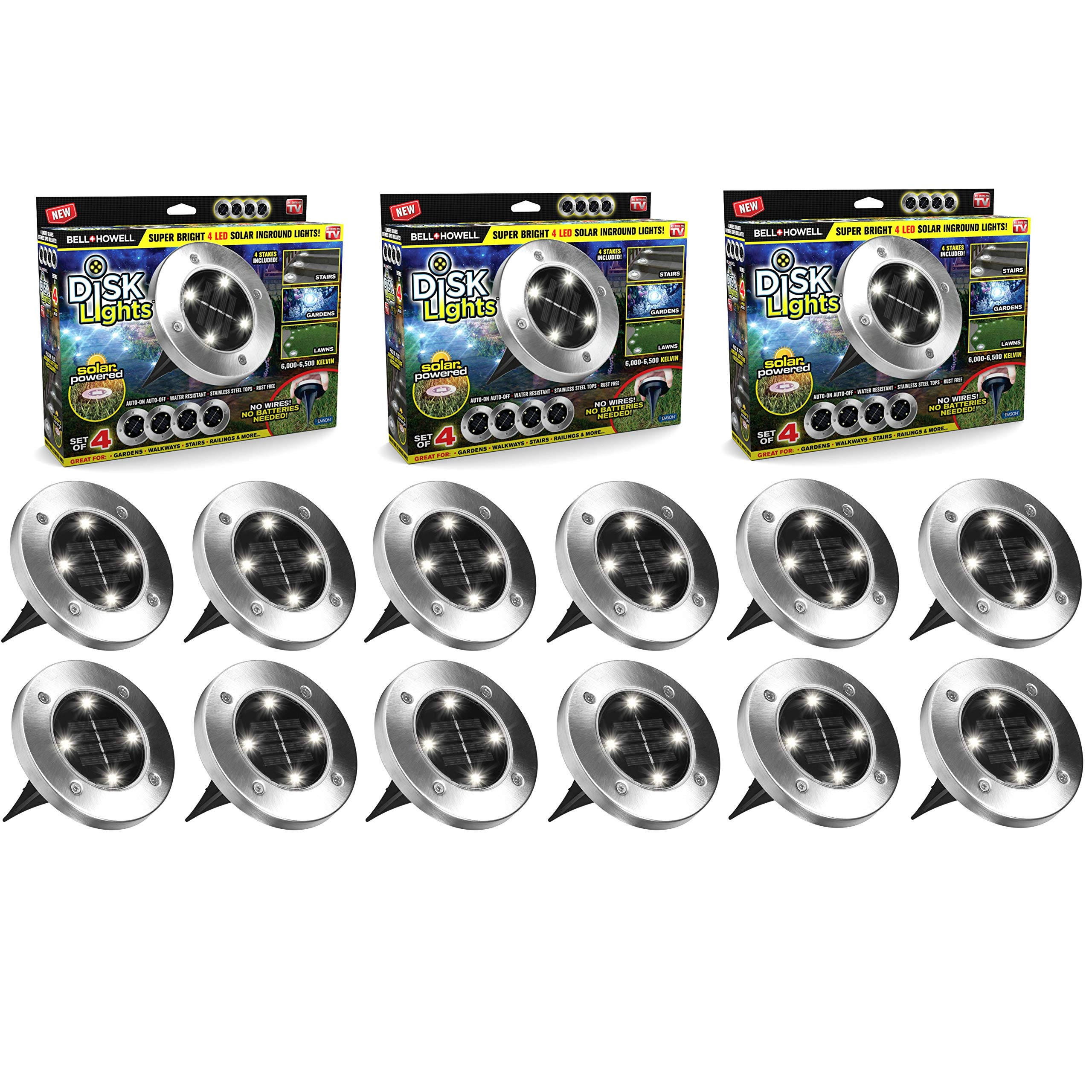BH Disk Lights 4-LED Solar-powered Auto On/Off Outdoor Lighting As Seen On TV (12, Regular)