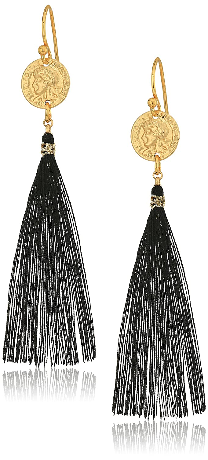 Chan Luu Black Tassel Drop Earrings EGZ-4899