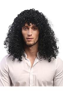 Peluca negra rizada para hombre, de estrella del rock ...