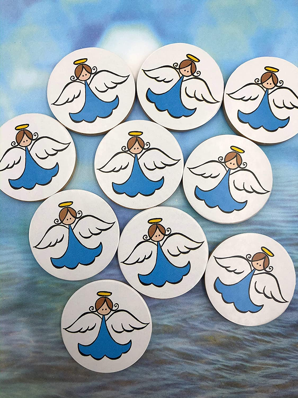Blue Pocket Angel Minis Set of 10 Pocket Angel Wooden Tokens