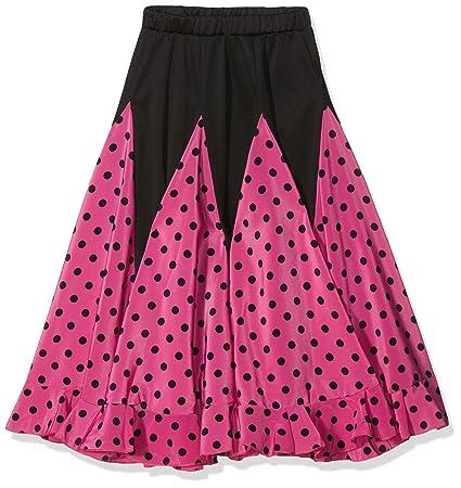 La Señorita Falda Flamenco Sévillane niña rosa con puntos negro ...
