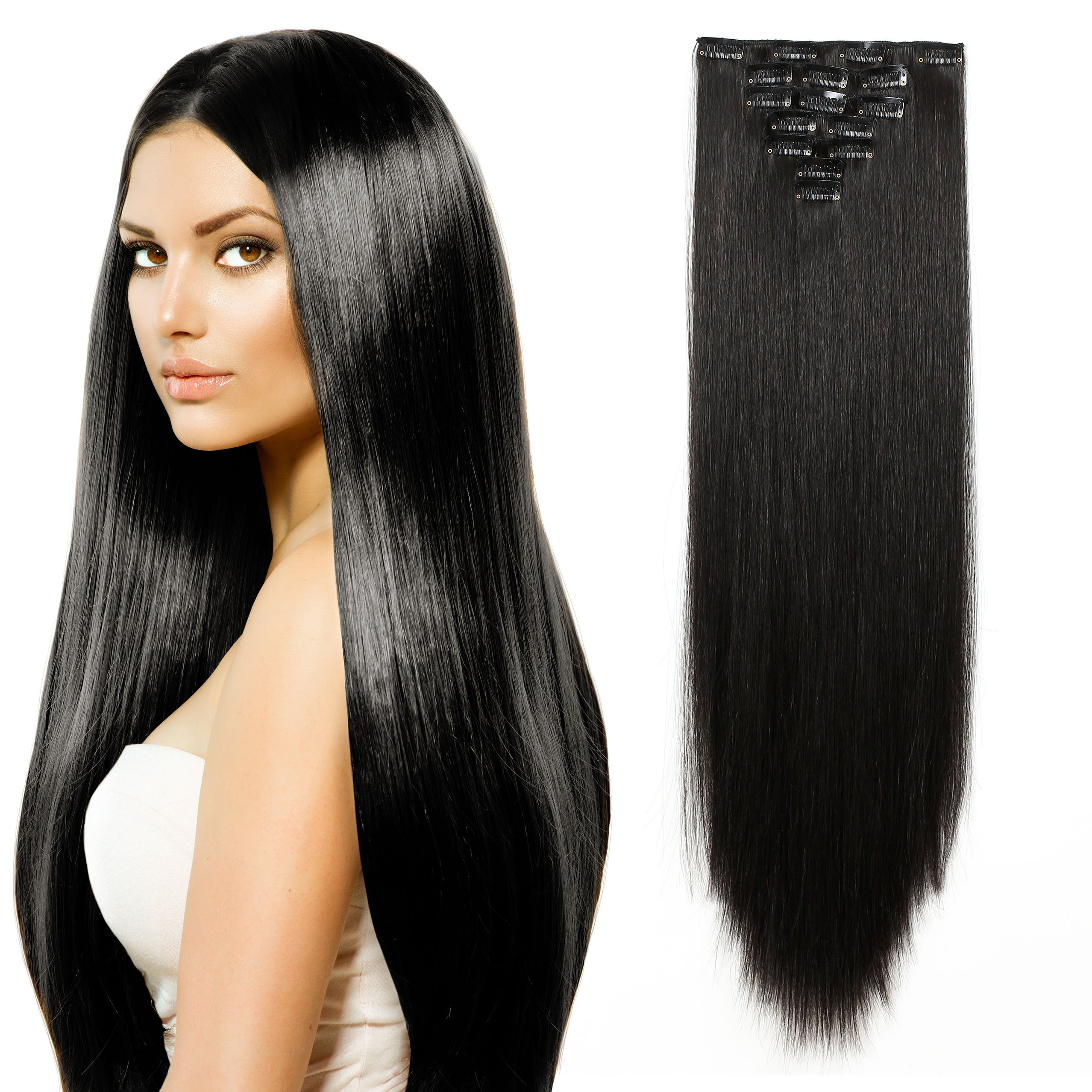 "OneDor 24"" Straight Full Head kanekalon Futura Heat Resistance Hair Extensions Clip On/in Hairpieces 7pcs 140g (Straight 2#-Darkest Brown)"